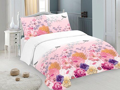 Bettwäsche Set 3 TLG. Baumwolle Renforcé Reißverschluss, 200x220 cm, Rosa Pink, Geblümt