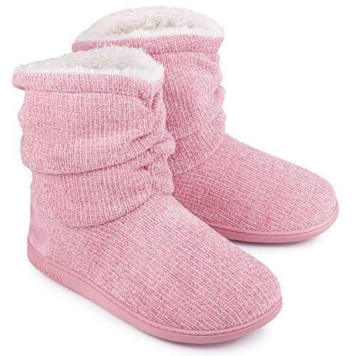 LongBay Women's Chenille Knit Bootie Slippers Cute Plush Fleece Memory Foam House Shoes (Large / 9-10 B(M), Pink)