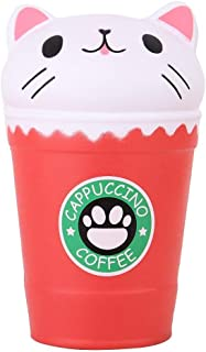 Anboor 5.3 Inches Squishies Cat Coffee Cup Jumbo Slow Rising Kawaii Scented Soft Animal Squishies Toys Color Random, 1 PCS