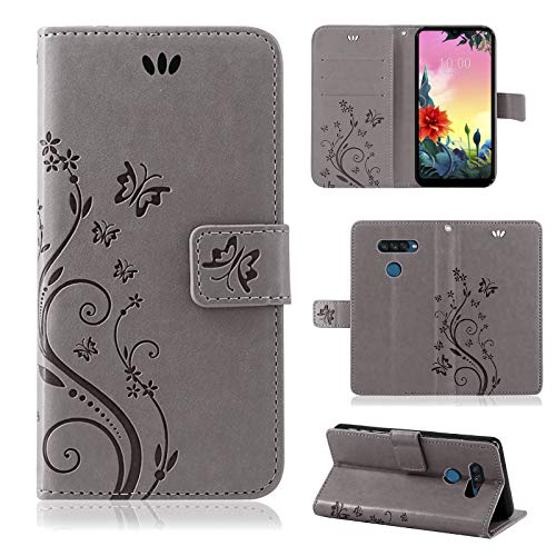 betterfon | LG K50S Hülle Flower Hülle Handytasche Schutzhülle Blumen Klapptasche Handyhülle Handy Schale für LG K50S Grau