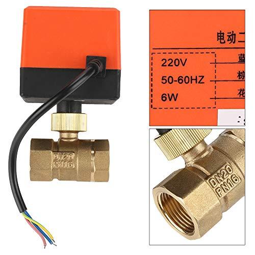 Motorisiertes Kugelventil, 2-Wege-Kugelhahn G3/4 DN20 AC220V Messing elektrisches Ventil 3-Draht-1-Punkt-Steuerung für Heizung, Klimaanlage, Kühlung