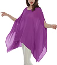 Max Hsuan Women's Loose Solid Sheer Chiffon Caftan Poncho Batwing Tunic Top Blouse Summer Oversized Shirts