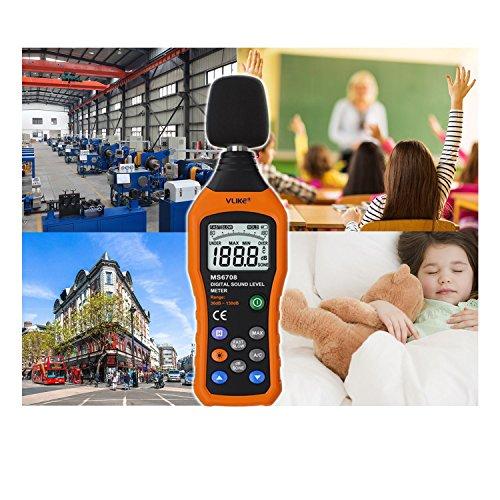 Sonomètre,VLike PT02 LCD Digital Audio Decibel son Niveau de bruit moniteur Mètre DB Mètre de mesure de 30 dB à 130 dB Logger testeur(Les batteries excluent)