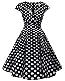 Bbonlinedress Women Short 1950s Retro Vintage Cocktail Party Swing Dresses Black White BDot 2XL