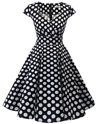 bbonlinedress 1950er Vintage Retro Cocktailkleid Rockabilly V-Ausschnitt Faltenrock Black White BDot 3XL