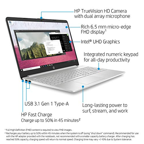 HP 15-dy1036nr 10th Gen Intel Core i5-1035G1, 15.6-Inch FHD Laptop, Natural Silver