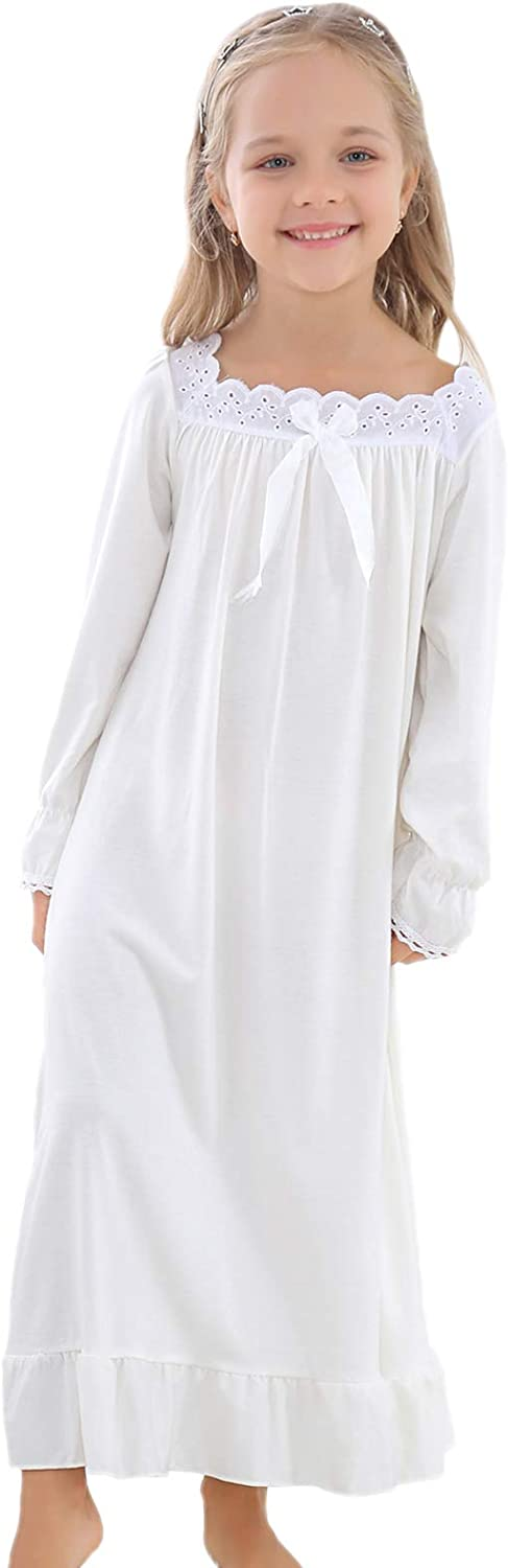Horcute Girls Cotton Long-Sleeve Easy-to-use Fixed price for sale Sleeveless and Nigh Sleepshirts