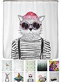 arteneur® - Hipster Katze aus Berlin - Anti-Schimmel Duschvorhang 180x200 - Beschwerter Saum, Blickdicht, Wasserdicht, Waschbar, 12 Ringe und E-Book mit Reinigungs-Tipps