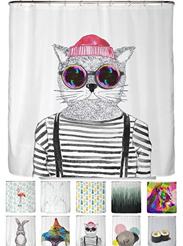 arteneur® - Hipster Katze aus Berlin - Anti-Schimmel Duschvorhang 180x200 - Beschwerter Saum, Blickdicht, Wasserdicht, Waschbar, 12 Ringe & E-Book mit Reinigungs-Tipps