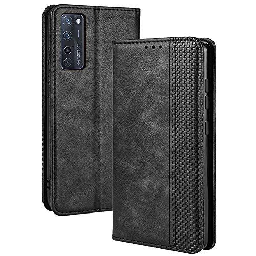 TANYO Leder Folio Hülle für ZTE Axon 20, Premium Flip Wallet Tasche mit Kartensteckplätzen, PU/TPU Lederhülle Handyhülle Schutzhülle - Schwarz