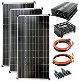 solartronics Komplettset 3x130 Watt Solarmodul 1500 Watt Wandler Laderegler Photovoltaik Inselanlage