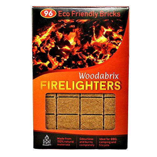 Natural Wood Eco Firelighters. 96 Sustainable Fire-starters Ideal for Wood Burners, Fire Pits, Pizza Ovens, BBQs. No Kindling Required. Lights Even When Damp.