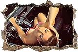Etiqueta De La Pared 3D -Mujer en coche estilo retro rockabilly - Decoracion Paredes Dormitorio, Decoracion Habitacion Juvenil, Vinilos Pared, Posters para Pared, Decoracion Hogar 70x110cm