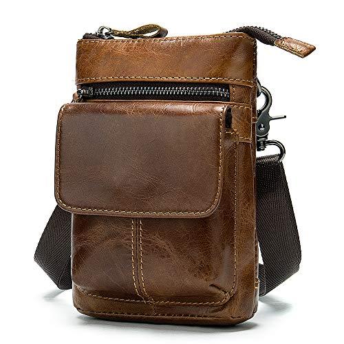 Hombre Bolsa de Hombro para Celular, Bolsa de Cintura Hombre Marrón, 7' Cuero Pequeño Funda de Móvil Cinturón Monedero Bolsa de Teléfono Celular Bolsa de Tarjeta Riñonera Bolsa con Clip de Cinturón