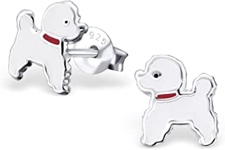925 Sterling Silver White Dog w/ Red Collar Stud Earrings for Girls 17140 (Nickel Free)