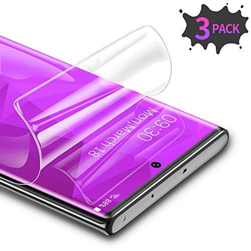 RIWNNI [3 Unidades Protector Pantalla para Samsung Galaxy Note 10 Plus, Ultra Fino Soft TPU Película Alta Definicion Cobertura Completa Protector de Pantalla para Samsung Note 10 Plus - Transparente