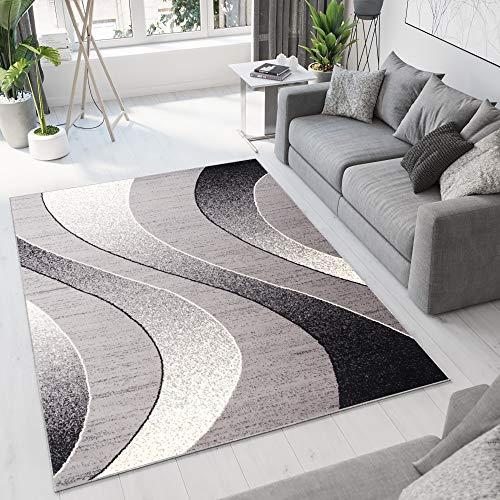 Tapiso Dream Teppich Wohnzimmer Modern Wellen Streifen Grau Creme Schwarz Leicht Meliert Schlafzimmer Esszimmer Gästezimmer ÖKOTEX 300 x 400 cm