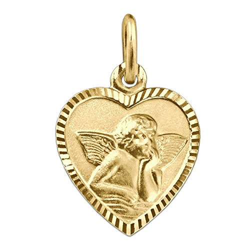 CLEVER SCHMUCK Goldener Anhänger Herz 11 x 10 mm schmal mit Engel klassisch seidenmatt Rand glänzend diamantiert Rückseite Gott schütze Dich 333 Gold 8 Karat