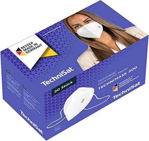 TechniSat TECHNIMASK 200 Community-Maske (Mund- und Nasen-Bedeckung, mehrlagige Einweg-Maske aus hochwertigem Vlies / Gesichtsmasken, Made in Germany), 20 Stück