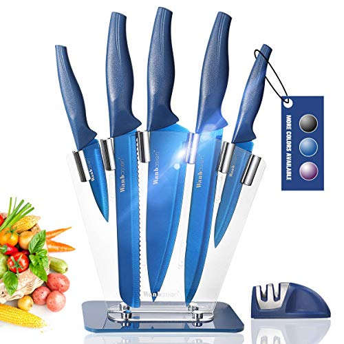 Wanbasion Blue 7 piece Kitchen Knife Sets Dishwasher Safe, Knife Block Stainless Steel with Knives, Professional Knife Set for Kitchen with Sharpener