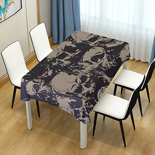 LIUBT Rechteckige Tischdecke mit schwarz-weißem Totenkopf-Muster, für Hochzeit, Party, Esszimmer, Picknick, Küche, waschbar, 152 x 308 cm (B x L)