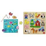 Goula - Puzzle de Pesca magnetico - Puzzle de Madera a Partir de 2 años + Puzzle Encajes Granja Madera 28x28cm, Multicolor, (Diset 53025), Color/Modelo Surtido