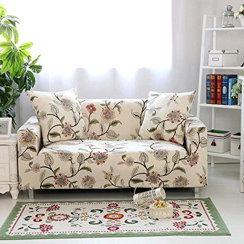 Funda Sofa 1 Plaza Floral Beige Fundas Sofa Elasticas,Funda de Sofa Chaise Longue,Moderna Cubre Sofa,La Funda para Sofa Jacquard de Poliéster (90-140cm)