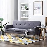 Festnight 3-Sitzer-Sofa | 3er Stoff Couch | Wohnzimmer Stoffsofa | Polstersofa | Loungesofa | Hellgrau Stoffpolsterung mit Holzrahmen 186 x 71 x 79 cm
