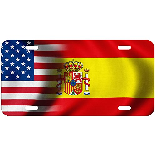 ExpressItBest High Grade Aluminum License Plate - Flag of Spain (Spanish) - Waves/USA