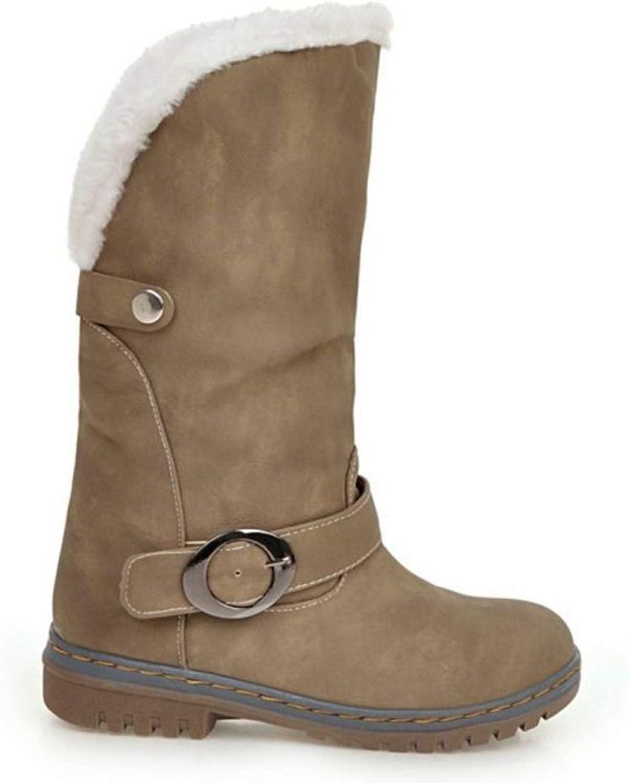 Autumn Winter Women Mid Calf Boots Comfortable Short Plush Round Toe Low Heels Ladies shoes