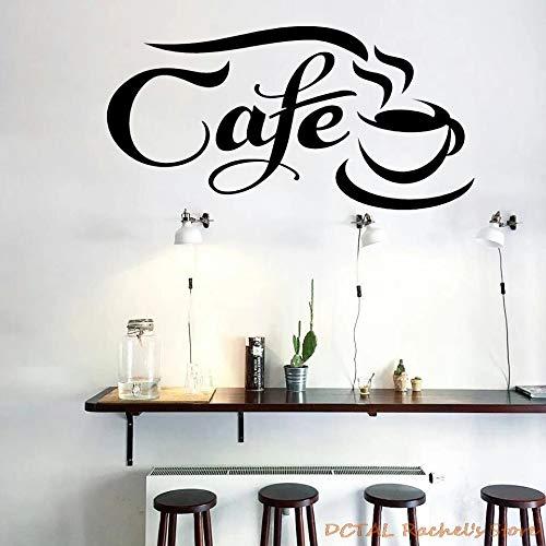 HGFDHG Arte Creativo Moda Café Etiqueta Dormitorio Taza Vinilo Ventana Pared Palabra Café Decoración