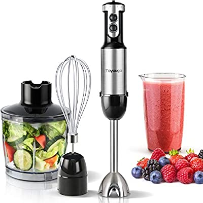 Toyuugo 4-in-1 Immersion Hand Blender, Powerful 500Watt 6-Speed Stick Blender with 500ml Food Grinder, 600ml Container, Egg Whisk, Puree Infant Food, Smoothies, Sauces and Soups - Multi-Purpose, Black?HB-6002