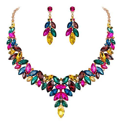EVER FAITH Juegos de Joyas para Mujer Cristal Austríaco Floral Hoja Vid Fiesta Collares Pendientes Conjunto Multicolor Tono Dorado