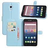 HualuBro Alcatel Pixi 4 (6 Zoll) 3G Hülle, Leder Brieftasche Etui Tasche Schutzhülle HandyHülle [Standfunktion] Lederhülle Flip Case Cover für Alcatel OneTouch Pixi4 6.0 Zoll 3G 8050D (Blau)
