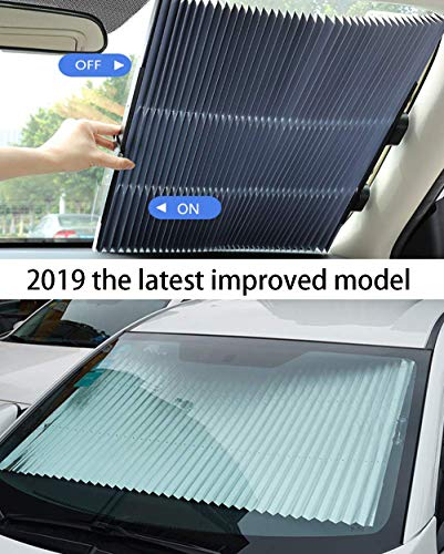 MagiqueW Car Windshield Sun Shade,Retractable Car Sun Shade for Windshield - Protect Vehicle's Interior from Heat and Sunlight(65CM/25.6IN(Front))