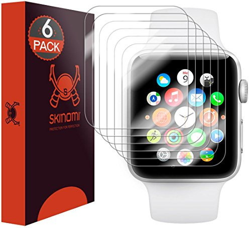 Skinomi TechSkin - pellicola protettiva per Apple Watch 42mm Series 2 & Series 3 - copre il display e resistente all'acqua, 6 pz.