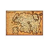 LAOLIU The Elder Scrolls - Póster de mapa del mundo de Skyrim con impresión en lienzo para decoración de la habitación, habitación familiar, dormitorio, cuarto de baño, 30 x 45 cm