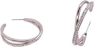 Bevilles Stainless Steel Crystal Crossover Hoop Earrings