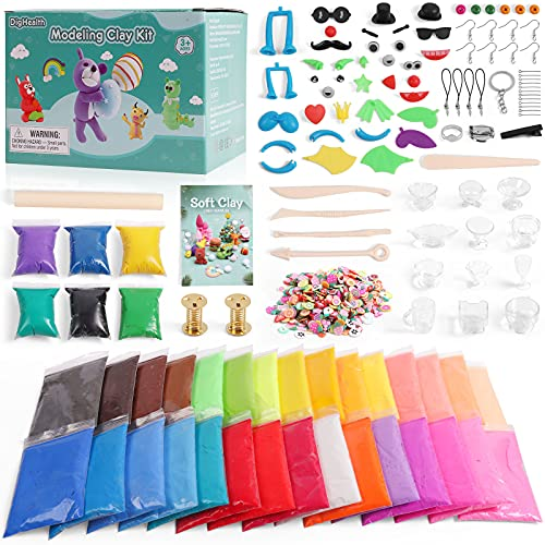 DigHealth 36 Colors Air Dry Clay, Ultra Light Modelling Clay Kit, Not Easy to Stick, Soft DIY Molding Clay with Tools, Animal Accessories, Creative Magic Clay Crafts Gift for Kids 3-12 Years Old