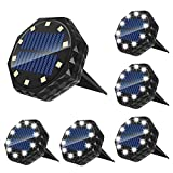 Solar Ground Lights Solar Disk Lights 10 LED Outdoor Solar Garden Lights 6 Pcs, IP68 Waterproof Solar In-Ground Lights, for Lawn Pathway Yard Driveway Step and Walkway