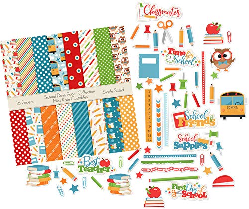 Die Cuts & Paper Set - School Days - by Miss Kate Cuttables - 16 Single - Sided 12'x12' Premium Specialty Paper Sheets & Over 60 Coordinating Die Cuts