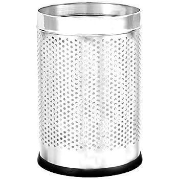"MOCHEN Stainless Steel Open Dustbin for Home, Office, Kitchen, Bathroom, 5 liters (7"" x 11""), Silver Chromic Finishing"