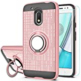 Moto G4 Play Case,Moto G Play 4th Generation Case,[Not fit Moto G4],with HD Screen Protector,YmhxcY 360 Degree Rotating Ring & Bracket Dual Layer Resistant Back Cover for Moto G4 Play-ZH Rose Gold