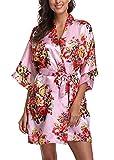 WANNISHA Women's Floral Satin Kimono Robe Short Silk Bathrobe Bride and Bridesmaid Sleepwear Pink, X-Large from WANNISHA