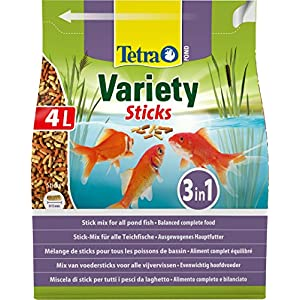 Tetra Pond Variety, Mix of Three Different Food Sticks for All Pond Fish, 4 Litre