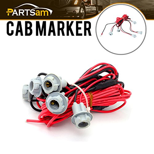 Partsam T10 194 W5W 168 194 2825 W3W 147 152 158 159 161 T10 Socket Holder Connector Cable T10 Wedge Base Universal for Cab Marker Roof Lights T10 Wire Wiring Harness