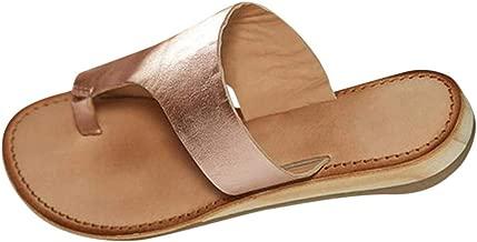 BOLUBILUY Summer Sandals for Women,Open Toe Slippers Leather Wedges Flat Bottom Anti Slip Flip Flop Summer Beach Shoes