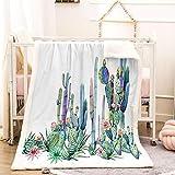 BEDSERG Tirar Las Mantas Gruesas para Adultos niños Cactus de Planta Verde Manta Polar Super Suave Colcha Sherpa Manta para la Cama y sofá 150x200cm