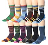 Ronnox Wool Blend Trekking Hiking Outdoor Sports Performance Cushioned Crew Socks, For Men & Women 12 Pairs