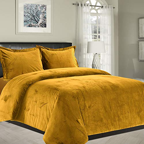 Yorkshire Bedding Duvet Cover Set Crushed Velvet Bedding Bed Set 3 Piece Ultra Soft Thick Hypoallergenic Modern Quilt Cover + 2 Pillow Cases (Ochre, Super King)
